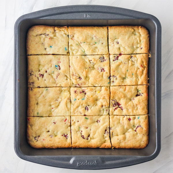 Baked cookie bars in an 8x8 baking pan.