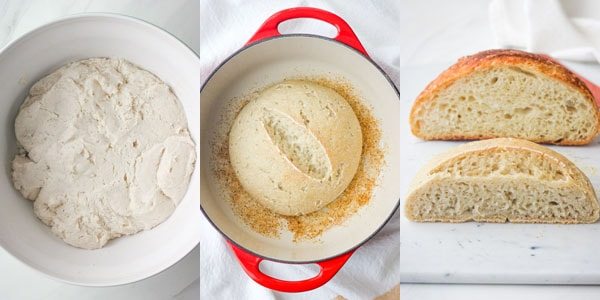 Dough in bowl and baked small loaf of bread.
