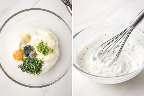 A glass bowl with yogurt and seasonings and the ingredients whipped with a metal whisk.