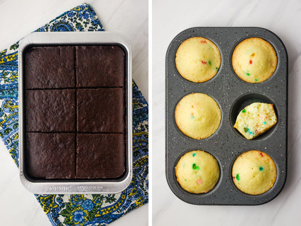 A small toaster oven pan with chocolate cake and a muffin pan of vanilla cupcakes.