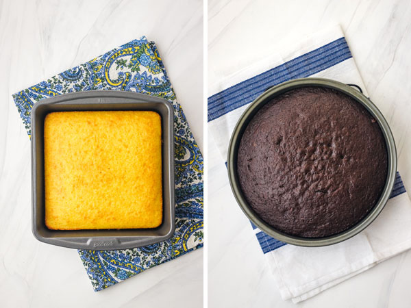 A yellow cake in a square baking pan and a chocolate cake in a round 9-inch pan.