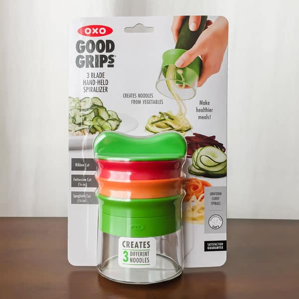 OXO Hand-Held Vegetable Spiralizer with 3 Blades in Packaging