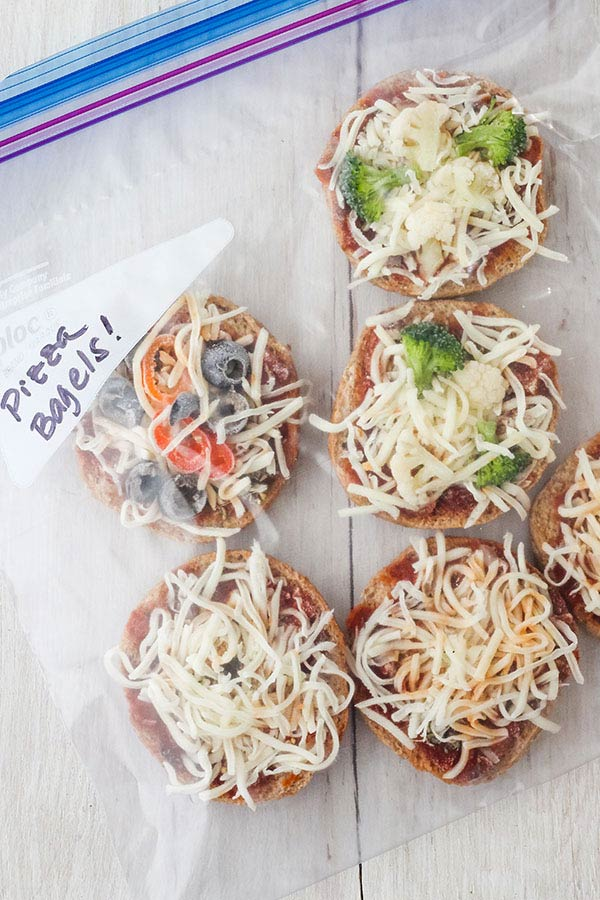 Homemade Frozen Pizza Bagels