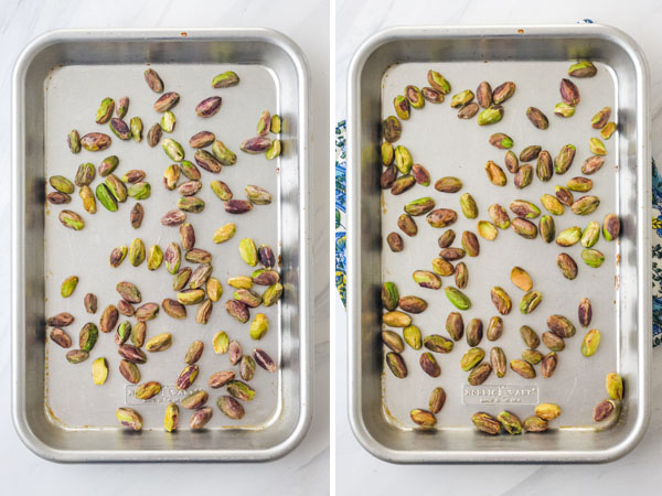 Raw and toasted pistachios on baking sheets.