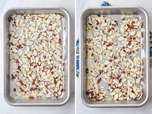 Raw and toasted sliced almonds on baking sheets.
