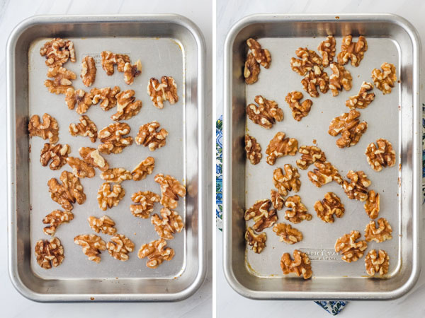 Raw and toasted walnuts on a baking sheet.
