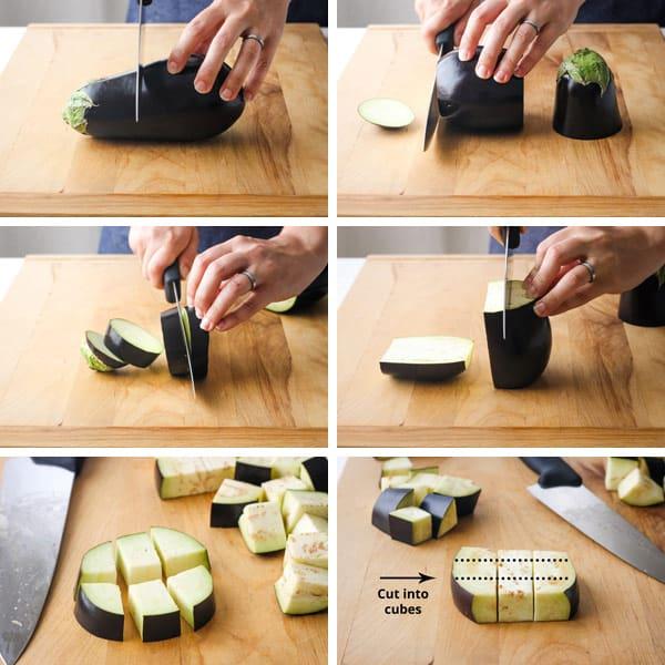 Person cutting eggplant on a cutting board.