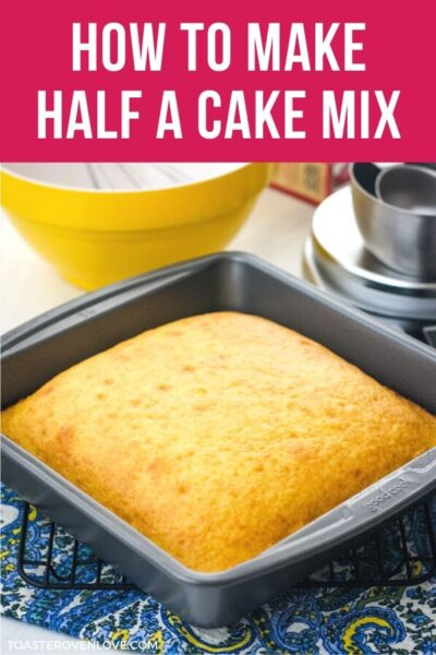 Square baking pan with a yellow cake.