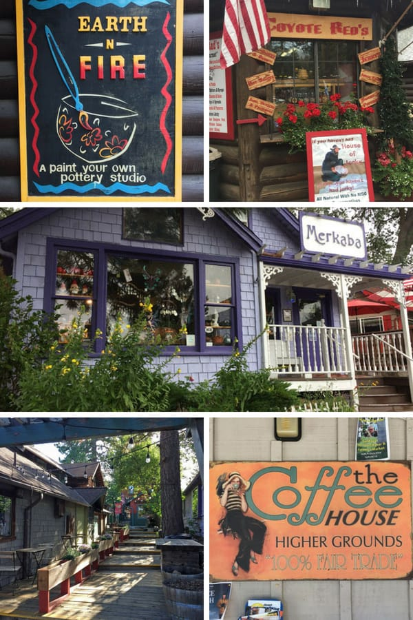 Photos of signs for shops in Idyllwild including pottery painting, jams, tea and a coffee house.