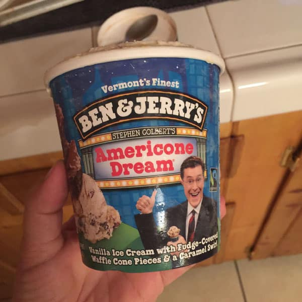 Carton of Ben and Jerry's American Dream Ice Cream