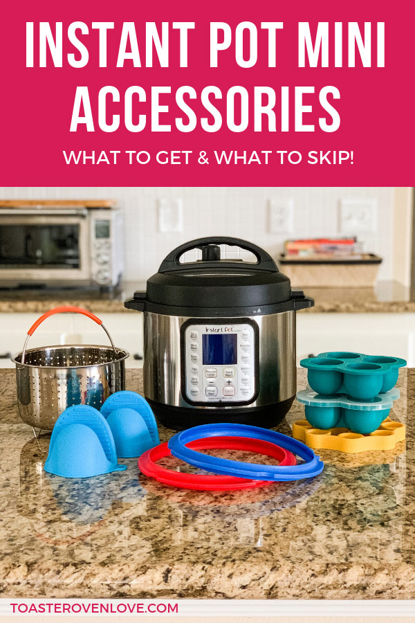 3-Quart Instant Pot on a kitchen counter surrounded by accessories.