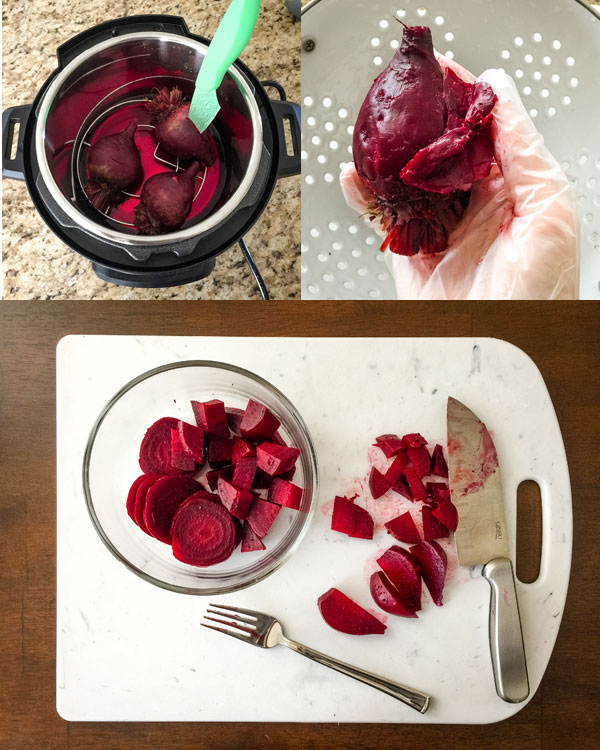 Beets inside an instant pot with a knife in one and beet with skin partially removed.