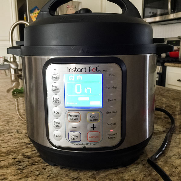 3 quart Instant Pot on a kitchen counter.