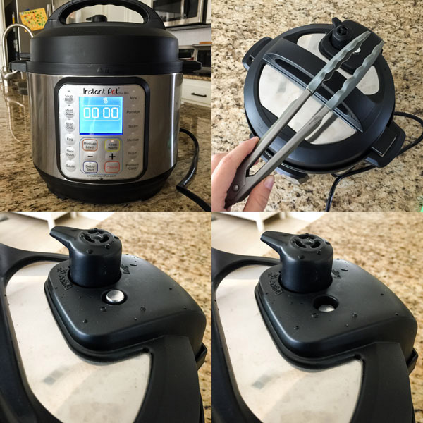 4 photos of the steps to release pressure from the instant pot