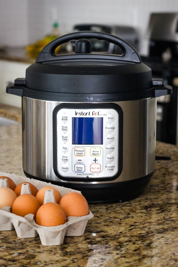 An instant pot mini on a kitchen counter next to a carton of brown eggs.