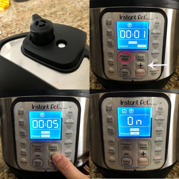 Multiple photos showing settings for instant pot screen.