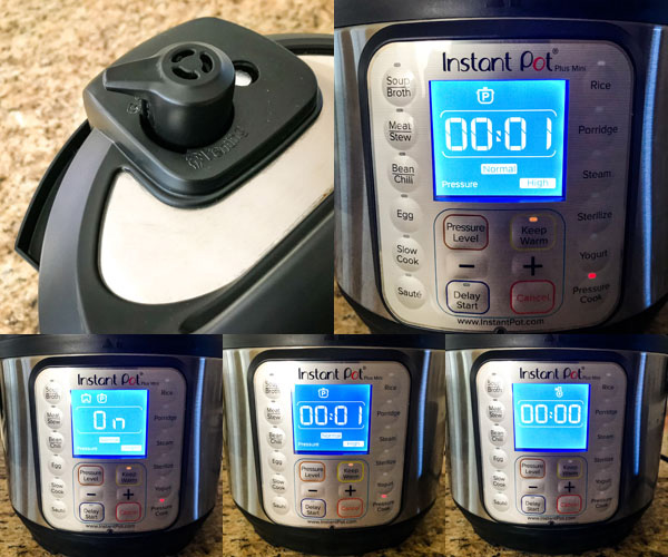 Collage of instant pot screen during cooking process.