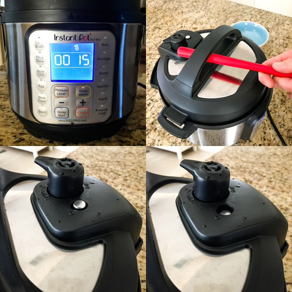 Collage showing instant pot mini pressure release.