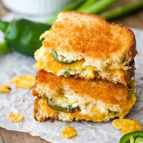 Close up of stacked Jalapeno Popper Grilled Cheese.