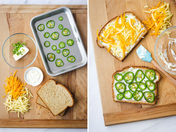 Jalapeno Popper Grilled Cheese prepared on a wooden cutting board.