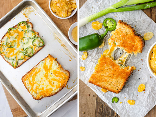 Baked cheese toasts and a grilled cheese pulled in half.