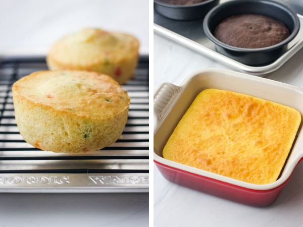 Mini cakes will sloped edges on a cooling rack and small lemon and chocolate cakes without slopes.