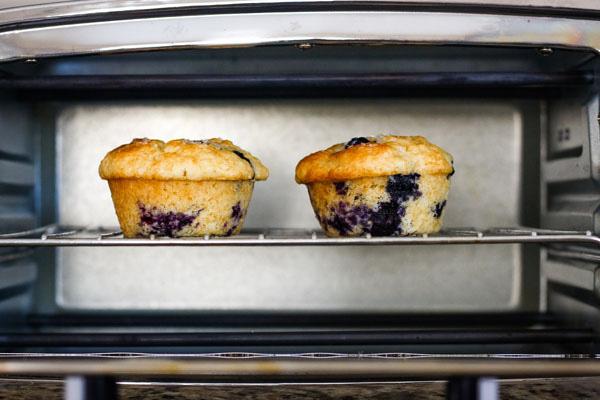Two blueberry muffins on a rack inside a toaster oven.