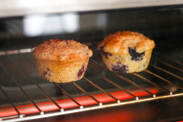 Muffins on a baking rack inside a countertop oven.