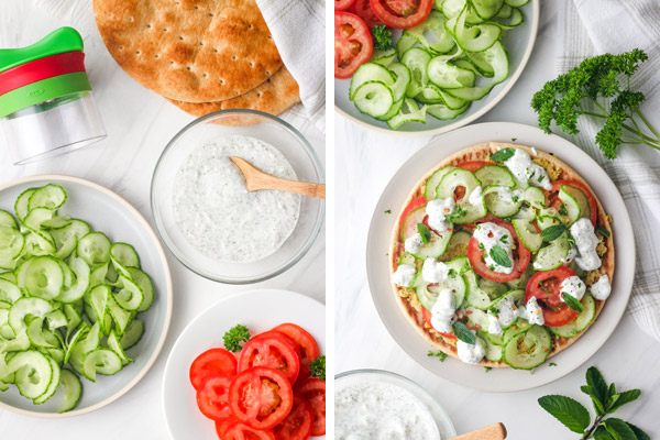 Spiraled cucumber, tomato slices, pita breads, and a bowl of yogurt sauce on a table.