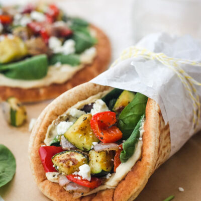 Zucchini and Hummus Pita Sandwiches