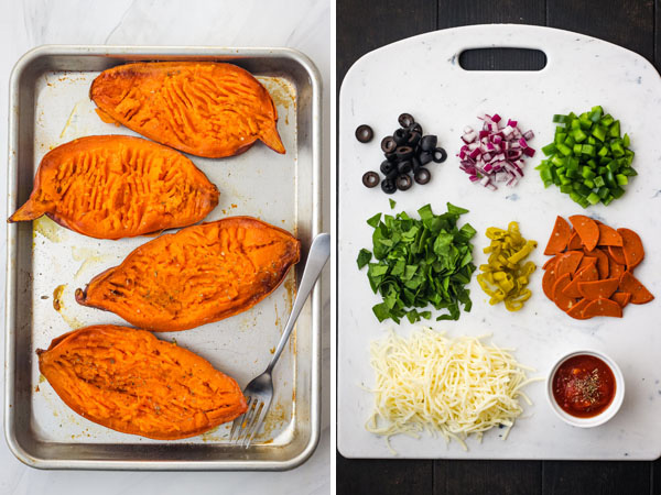 Baked sweet potatoes on a pan and a cutting board with pizza toppings.