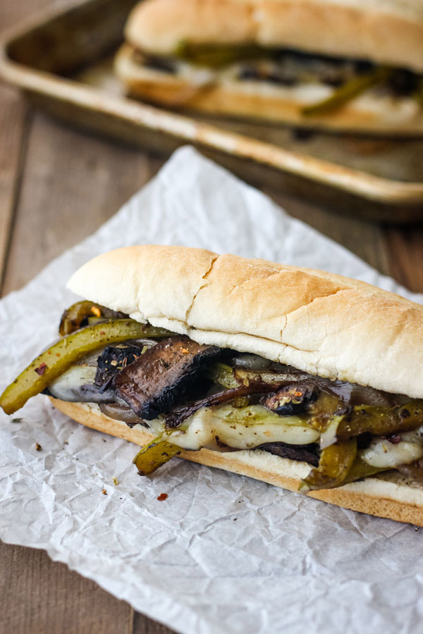 Mushroom Sandwich on a piece of parchment paper.