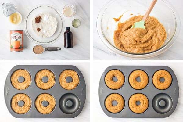 Ingredients, batter, and baked donuts in pan.