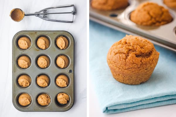 Mini muffin pan with batter and donut hole on a napkin.