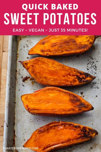 Baked sweet potato halves on a quarter sheet pan.