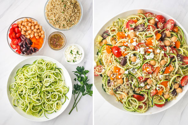 Zucchini noodles and salad ingredients in separate bowls and tossed together in a large white bowl.