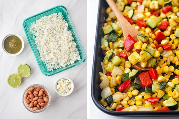 Roasted veggies on pan and containers with rice, beans, salsa, and feta cheese.