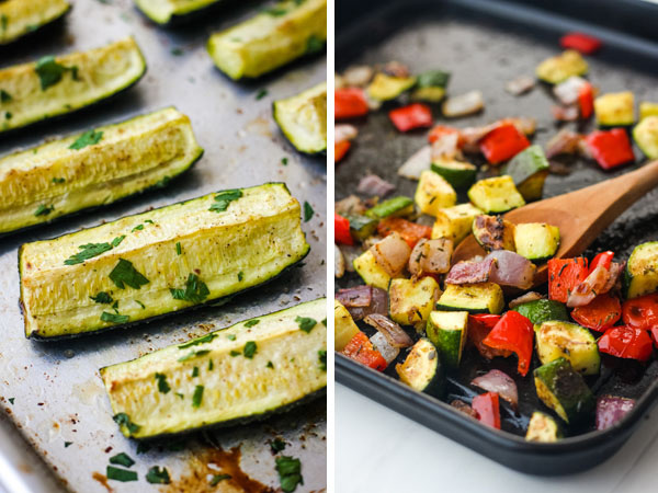 Collage of cooked zucchini wedges and a dark pan of roasted zucchini, red bell pepper, and onions with a wooden spoon.
