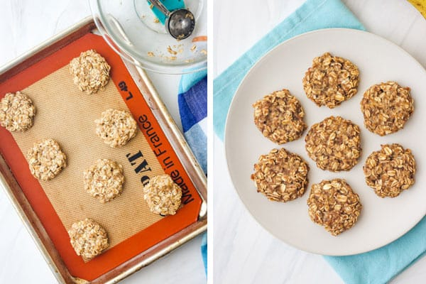 Unbaked cookies on a pan and baked cookies on a plate.