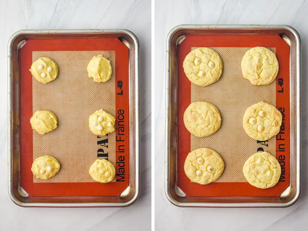 Cookie dough on a sheet pan next to baked cookies on a sheet pan.
