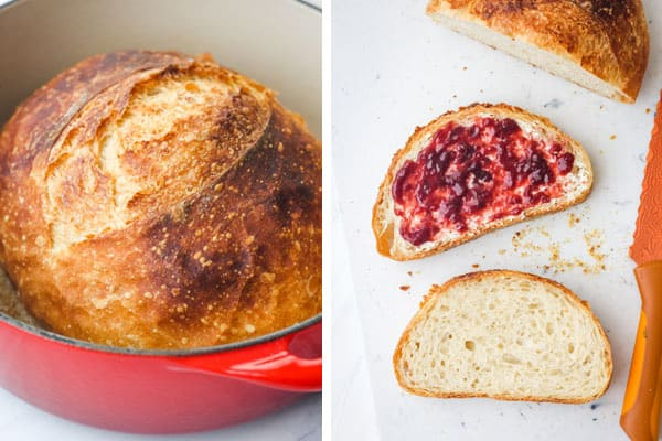 Baked bread in a dutch oven and bread slices on a cutting board.