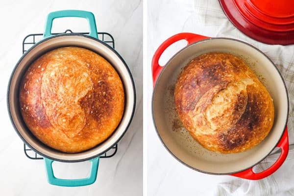 Overhead view of breads baked in small dutch ovens.