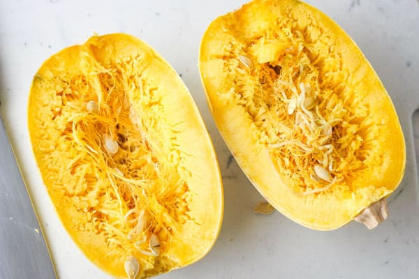 Sprouting seeds inside a spaghetti squash.
