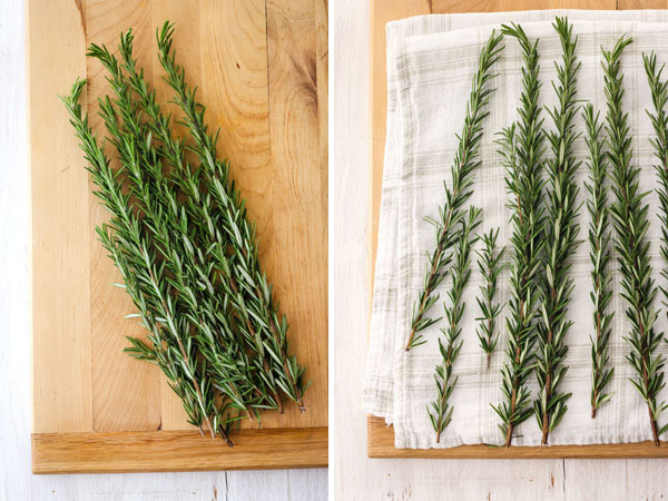 First Photo: Fresh rosemary on cutting board. Second Photo: Clean rosemary drying on a white towel.