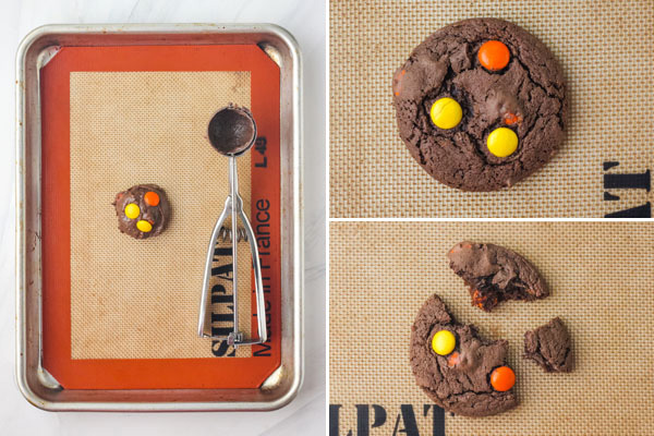 Scoop of dough on a baking sheet next to photos of a baked cookie.