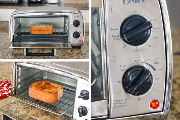 Photos of sandwich inside a toaster oven and close up of oven controls set to toast.