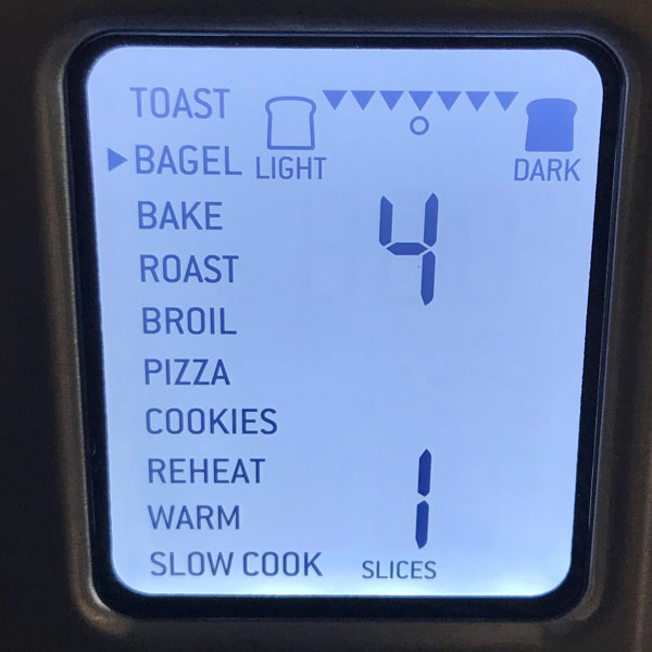 Countertop oven screen showing Bagel Setting.
