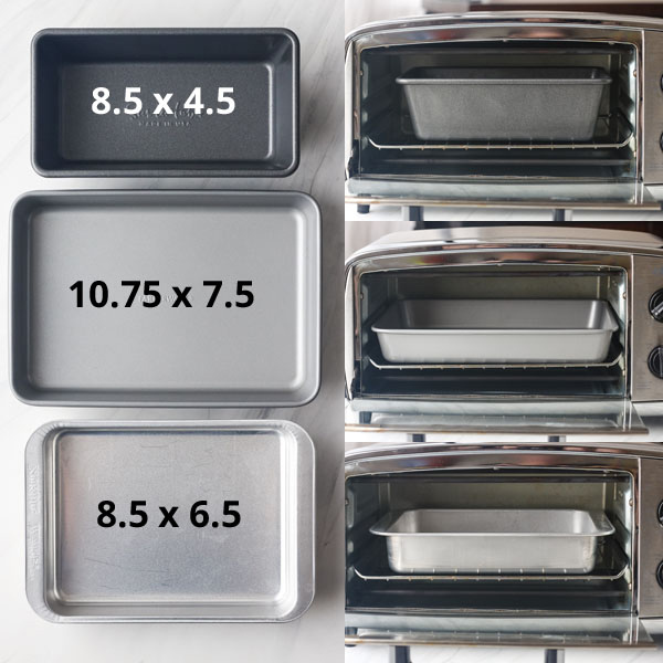 3 baking pans with measurements typed on them.