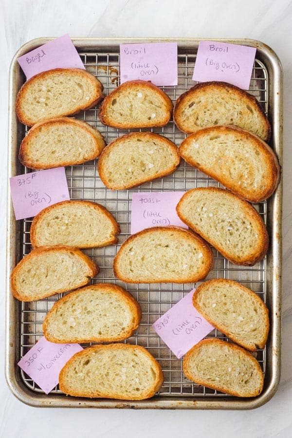 Toasted bread slices with labels identifying settings used.