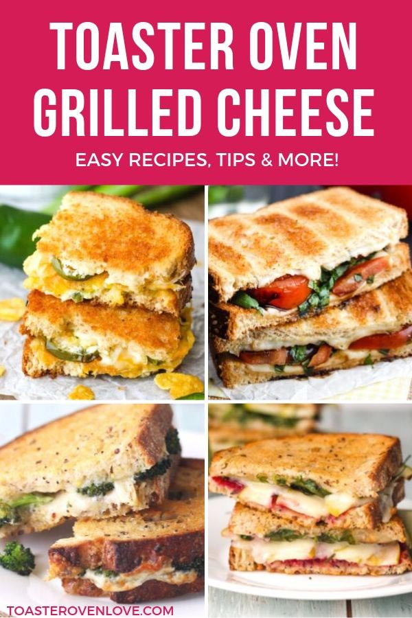 Four photos of grilled cheese sandwiches